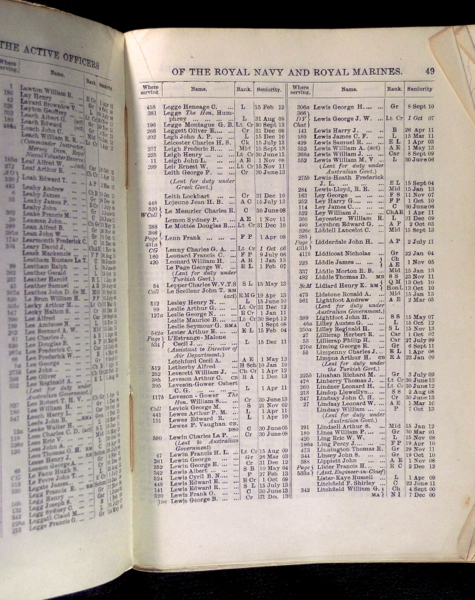The Navy List for April 1914 (corrected to March 1914).