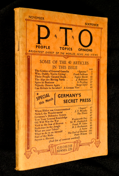 People Topics Opinions / PTO / P.T.O. Vol. 1. No.5, November 1939. Brightest Digest of the World's News and Views. Frank Whitaker.