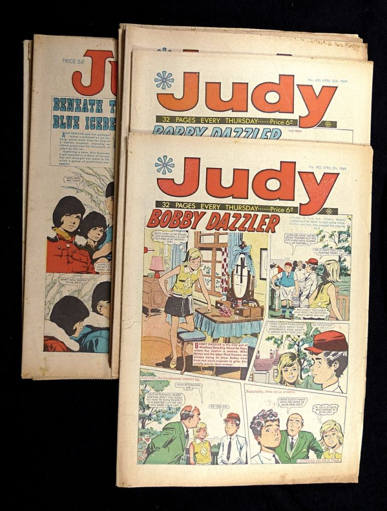 Judy [Girls' comic] 'Picture-stories, plus features for girls': 12 odd issues: numbers 406, 413, 425, 437, 447, 482, 485, 503, 504, 509, 510, 530. Between October 1967 and March 1970.
