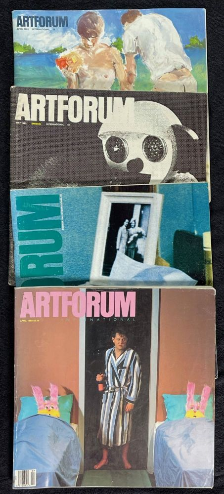 Artforum: 5 odd issues (can split): 1983 April. Vol XXI No.8, Eric Fischl cover; 1983 May. Vol XXI No.9 Special issue, 'Mother love in monkeys' cover; 1983 Summer (June). Vol XXI No.10, Chantal Akerman cover; 1983 December. Vol XXII No.4, Sigmar Polke cover; and 1988 April, with Bruce Charlesworth cover.