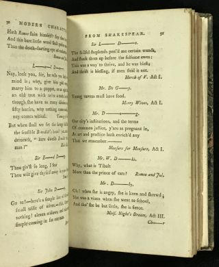 The Modern Characters from Shakespear alphabetically arranged. [BOUND WITH: The Oxford Sausage: or, Select Poetical Pieces, Written by the Most Celebrated Wits of the University of Oxford. (This title listed separately, as my Item #17641105, for the sake of clarity.)]