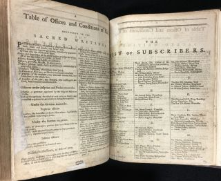 [An UNRECORDED EDITION of the BIBLE]: The Oxford Family-Bible; or, Christian's Compleat Library. Containing the Sacred Text of the Old and New Testament, at Large; together with the Apocrypha. With Notes Theological, Moral, Critical, and Explanatory. Wherein The Difficult Passages are explained, the seeming Contradictions reconciled, and the Objections of Infidels obviated. [The text appears to be that of the King James Bible.]