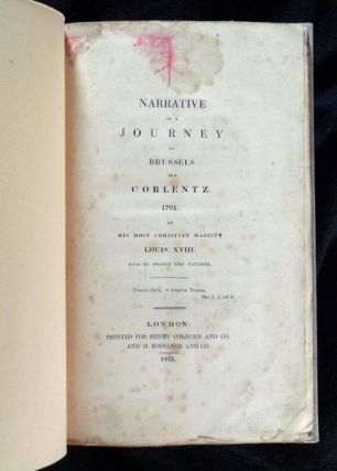 Narrative of a Journey to Brussels and Coblentz 1791.