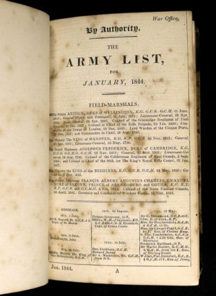 The Army List for January, 1844 [BOUND WITH] The Navy List, corrected to the 20th June, 1844 [AND] The Navy List, corrected to the 20th March, 1845. [each title begins: 'By Authority.']