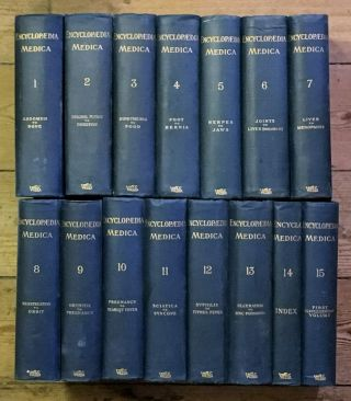 Encyclopaedia Medica. 15 vols, including the Index Vol.14, and the First Supplementary Volume, Voi.15. [All published]. Under the General Editorship of Chalmers Watson, Dr Alexandra Mary Chalmers Watson - 'Mona' and his wife.