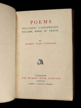 Poems: including Underwoods, Ballads, Songs of Travel.