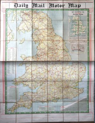 Daily Mail Milestone Motor Map: England: North Section and South Section together in slipcase....