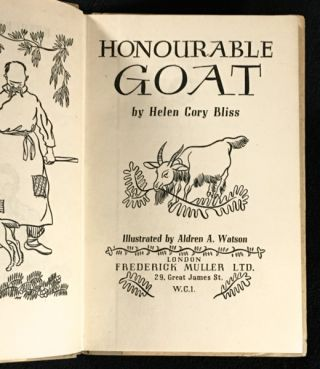 Honourable Goat. [Inscribed by publisher]