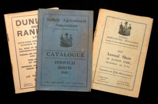Suffolk Show: Catalogues / Programme books for 1945, 1946, and 1947. The 1945 and 1946 Suffolk...