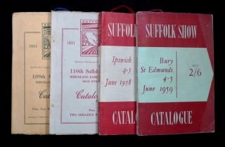 Suffolk Show: Catalogues / Programme books for the 1952, 1953, 1958 and 1959 Suffolk County Show....