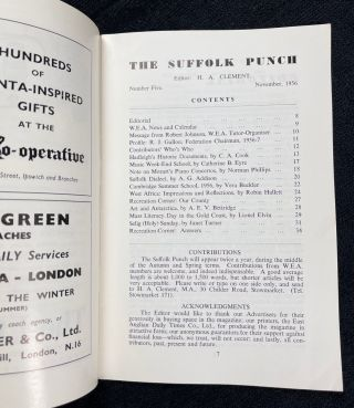 The Suffolk Punch. Magazine of the Suffolk Federation of the Workers' Educational Association. Issues 5, 6, & 7 (Nov.1956, March & Nov. 1957).
