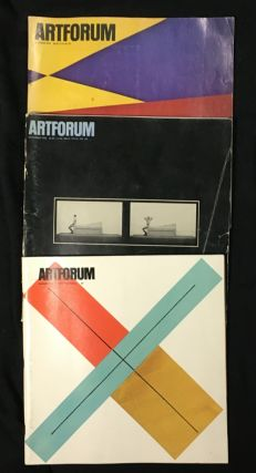 Artforum: 3 odd issues (can split): 1978 October. Vol XVII No.2, David Diao cover; 1980 November. Vol XIX No.3, Scott Burton cover; 1982 Summer (June). Vol XX No.10, Robert Mangold cover.