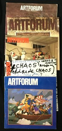 Artforum: 5 odd issues (can split): 1983 September. Vol XXII No.1, Brice Marden cover; 1983 October. Vol XXII No.2, Jannis Kounellis cover; 1983 November. Vol XXII No.3, Joan Miro cover; 1984 January. Vol XXII No.5, Pontus Hulten & Jean Tinguely cover. 1984 March. Vol XXII No.7, Robert Colescott cover.