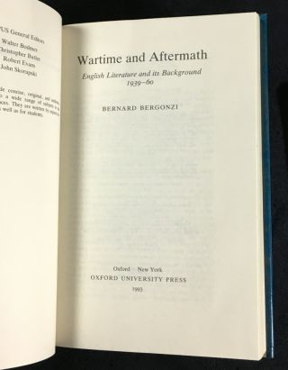 Wartime and Aftermath: English Literature and its Background 1939-1960.